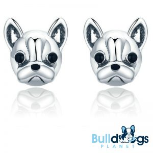 Sterling Silver Frenchie Stud Earrings