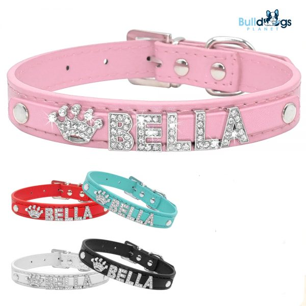 Bling Rhinestone Puppy Dog Collars Personalized Free Name Charms